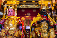 George Town, Penang, Malaysia.  Altar Deities in Cheah Kongsi, a Hokkien Clan Association Temple and Clan House.