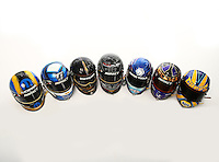 Jan 15, 2015; Jupiter, FL, USA; The helmets of NHRA Don Schumacher Racing drivers Jack Beckman , Spencer Massey , Matt Hagan , Tony Schumacher , Tommy Johnson Jr , Antron Brown and Ron Capps pose for a portrait during preseason testing at Palm Beach International Raceway. Mandatory Credit: Mark J. Rebilas-USA TODAY Sports