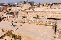 Israel,Jerusalem, child run on the Christian quarter rooftop of the old city, with the Dome of the Rock in the back side