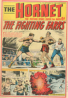 BNPS.co.uk (01202 558833)<br /> Pic: Spink & Son/BNPS<br /> <br /> Pictured: The brothers story featured on the cover of 'The Hornet' comic in 1969. <br /> <br /> The remarkable story of a foundryman who risked electrocution and being crushed to save injured co-workers after a factory explosion can be revealed after his bravery medal emerged for sale for £18,000.<br /> <br /> John Farr sprung into action when the High Duty Alloys Factory in Slough, Berks, was destroyed in the disaster on July 13, 1940.<br /> <br /> Alongside his brother Douglas, he pulled wounded colleagues to safety before returning to the debris to 'clear' two large furnaces each containing 1,000lbs of molten aluminium. This was done in complete darkness despite the danger of the roof collapsing at any moment and possible electrocution from loose cables.<br /> <br /> Their efforts meant that the factory was able to return to producing World War Two aircraft parts far sooner at a pivotal moment in the Battle of Britain.<br /> <br /> Mr Farr's heroism was later immortalised on the front cover of a 'boy's own' comic and his George Cross is now being sold with auctioneers Spink & Son, of London.