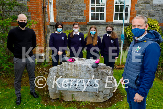 Declan Quill (Kerry Senior Ladies football Manager) with the students of Presentation Castleisland who's Safety Studs project is going forward to the National Enterprise competition in May.  Front right: Declan Quill (Kerry Senior Ladies football Manager). Back l to r: Pierce Dargan (Teacher), Mairead Walsh, Clodagh O'Sullivan, Rachel Deniel and Janeze Brown.