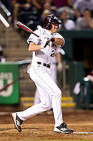 Koby Peebles (24) of the Missouri State Bears follows through his swing during a game against the Purdue Boilermakers at Hammons Field on March 13, 2012 in Springfield, Missouri. (David Welker / Four Seam Images)