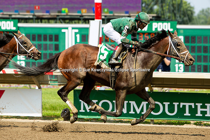 JULY 17, 2021: Dr. Post, #5, ridden by Joel Rosario, wins the Gr.3  Monmouth Cup Stakes, going 1 1/8  mile, at Monmouth Park in Oceanport, NJ.  Sue Kawczynski/Eclipse Sportswire/CSM