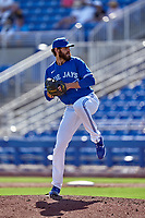 Toronto Blue Jays pitcher Jordan Romano (68) during a Major League Spring Training game against the Pittsburgh Pirates on March 1, 2021 at TD Ballpark in Dunedin, Florida.  (Mike Janes/Four Seam Images)