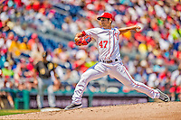 25 July 2013: Washington Nationals pitcher Gio Gonzalez on the mound against the Pittsburgh Pirates at Nationals Park in Washington, DC. The Nationals salvaged the last game of their series, winning 9-7 ending their 6-game losing streak. Mandatory Credit: Ed Wolfstein Photo *** RAW (NEF) Image File Available ***