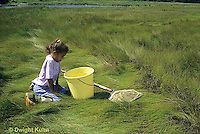 AC35-004z  Girl collecting specimens at salt marsh