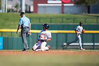Mesa Solar Sox second baseman Jahmai Jones (9), of the Los Angeles Angels organization, reacts after being called out by field umpire Jeremy Riggs on a stolen base attempt during an Arizona Fall League game against the Salt River Rafters at Sloan Park on November 9, 2018 in Mesa, Arizona. Mesa defeated Salt River 5-4. (Zachary Lucy/Four Seam Images)