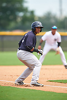 GCL Yankees East center fielder Robert Javier (19) leads off third base during the second game of a doubleheader against the GCL Yankees West on July 19, 2017 at the Yankees Minor League Complex in Tampa, Florida.  GCL Yankees West defeated the GCL Yankees East 3-1.  (Mike Janes/Four Seam Images)