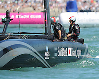 SoftBank Team Japan, JULY 23, 2016 - Sailing: Dean Barker CEO/Skipper of SoftBank Team Japan helms in light winds during day one of the Louis Vuitton America's Cup World Series racing, Portsmouth, United Kingdom. (Photo by Rob Munro/Stewart Communications)
