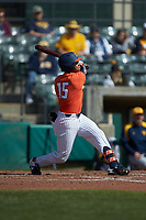 TaylorJackson (15) of the Illinois Fighting Illini follows through on his swing against the West Virginia Mountaineers at TicketReturn.com Field at Pelicans Ballpark on February 23, 2020 in Myrtle Beach, South Carolina. The Fighting Illini defeated the Mountaineers 2-1.  (Brian Westerholt/Four Seam Images)