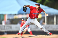 Lakewood BlueClaws starting pitcher Ethan Lindow (20) delivers a pitch during a game against the Asheville Tourists at McCormick Field on June 15, 2019 in Asheville, North Carolina. The BlueClaws defeated the Tourists 4-2. (Tony Farlow/Four Seam Images)