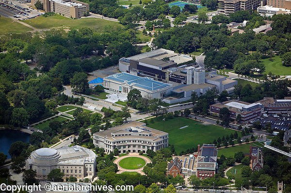 aerial photograph of the Cleveland Art Museum, University Circle, Cleveland, Ohio