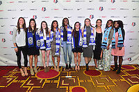Los Angeles, CA - Thursday January 12, 2017: NWSL first round picks, Ashley Hatch, Madeline Bauer, Rose Lavelle, Margaret Purce, Ifeoma Onumino, Christina Gibbons, Morgan Andrews, Darian Jenkins, Kayla Mills, Miranda Freeman during the 2017 NWSL College Draft at JW Marriott Hotel.
