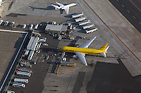 aerial view above DHL jet San Diego international airport Lindbergh Field California