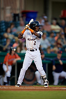 Bowling Green Hot Rods second baseman Vidal Brujan (2) at bat during a game against the Peoria Chiefs on September 15, 2018 at Bowling Green Ballpark in Bowling Green, Kentucky.  Bowling Green defeated Peoria 6-1.  (Mike Janes/Four Seam Images)