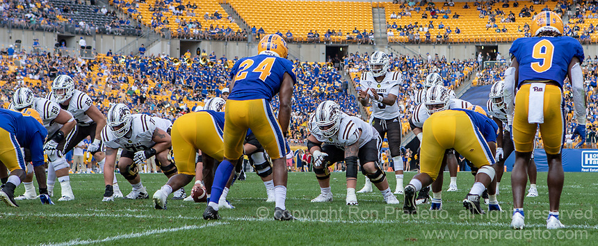 The WMU offense lead by quarterback Kaleb Eleby line up at the goal line against Pitt. The Western Michigan University Broncos defeated the Pitt Panthers 44-41 at Heinz Field, Pittsburgh, Pennsylvania on September 18, 2021.