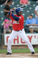 Secondbaseman Esteban German #6 of the Round Rock Express at bat against the Oklahoma City RedHawks on April 26, 2011 at the Dell Diamond in Round Rock, Texas. (Photo by Andrew Woolley / Four Seam Images)