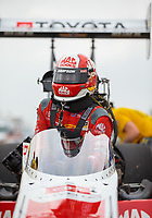 Apr 13, 2019; Baytown, TX, USA; NHRA top fuel driver Doug Kalitta during qualifying for the Springnationals at Houston Raceway Park. Mandatory Credit: Mark J. Rebilas-USA TODAY Sports