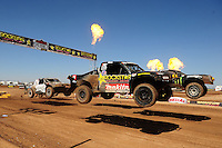 Apr 17, 2011; Surprise, AZ USA; LOORRS driver Todd Leduc (4) races alongside Rick Huseman (36) during round 4 at Speedworld Off Road Park. Mandatory Credit: Mark J. Rebilas-