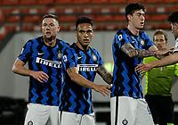 Milan Skriniar of Inter , Lautaro Martinez of Inter  and Alessandro Bastoni of Inter  during the  italian serie a soccer match,Spezia Inter Milan at  the STadio Picco in La Spezia Italy ,