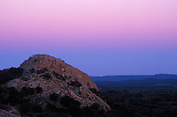 Turkey Peak after sunset, Enchanted Rock State Natural Area.  After enjoying sunset on the summit, I was heading back to the parking area in the gathering dusk when I noticed the eastern sky turning all shades of pink and purple.