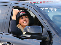 Sep 2, 2017; Clermont, IN, USA; NHRA top fuel driver Leah Pritchett during qualifying for the US Nationals at Lucas Oil Raceway. Mandatory Credit: Mark J. Rebilas-USA TODAY Sports
