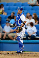 Dunedin Blue Jays catcher Aaron Munoz #7 during a game against the Clearwater Threshers at Florida Auto Exchange Stadium on April 4, 2013 in Dunedin, Florida.  Dunedin defeated Clearwater 4-2.  (Mike Janes/Four Seam Images)