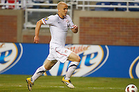 7 June 2011: USA Men's National Team midfielder Michael Bradley (4) dribbles the ball during the CONCACAF soccer match between USA MNT and Canada MNT at Ford Field Detroit, Michigan. USA won 2-0.