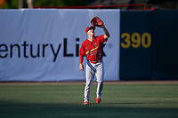 Palm Beach Cardinals left fielder Shane Billings (7) settles under a fly ball during a game against the Florida Fire Frogs on May 1, 2018 at Osceola County Stadium in Kissimmee, Florida.  Florida defeated Palm Beach 3-2.  (Mike Janes/Four Seam Images)