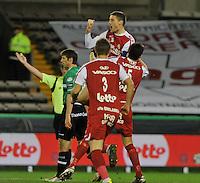 Cercle Brugge KSV - KV Kortrijk : Nebojsa Pavlovic sprint in de lucht van vreugde na zijn doelpunt.foto VDB / BART VANDENBROUCKE