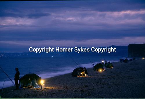 Night Fishing Chesil beach, Burton Bradstock, Dorset Uk 1990s.