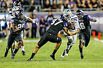 TCU Horned Frogs punter Ethan Perry (37) tackles Kansas State Wildcats wide receiver Tramaine Thompson (86) during the game between the Kansas State Wildcats and the TCU Horned Frogs  at the Amon G. Carter Stadium in Fort Worth, Texas. Kansas State defeats TCU 23 to 10...