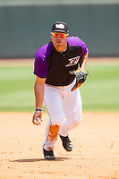 Grant Buckner (28) of the Winston-Salem Dash prepares to flip the ball to first base during the game against the Myrtle Beach Pelicans at BB&T Ballpark on May 7, 2014 in Winston-Salem, North Carolina.  The Pelicans defeated the Dash 5-4 in 11 innings.  (Brian Westerholt/Four Seam Images)