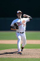 Baltimore Orioles pitcher Tim Berry (73) during a Spring Training game against the Tampa Bay Rays on March 14, 2015 at Ed Smith Stadium in Sarasota, Florida.  Tampa Bay defeated Baltimore 3-2.  (Mike Janes/Four Seam Images)