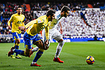 Nacho Fernandez of Real Madrid (R) fights for the ball with Pedro Bigas Rigo of UD Las Palmas (L)  during the La Liga 2017-18 match between Real Madrid and UD Las Palmas at Estadio Santiago Bernabeu on November 05 2017 in Madrid, Spain. Photo by Diego Gonzalez / Power Sport Images