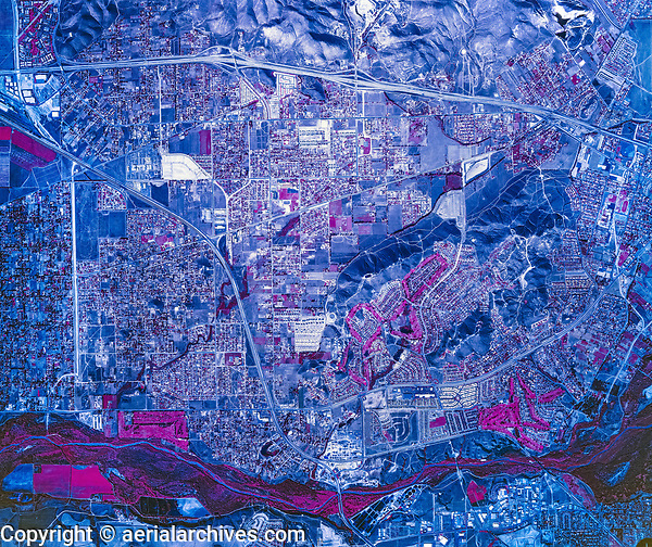 historical infrared aerial photograph of Jurapa Valley,  Riverside County, California, 1986
