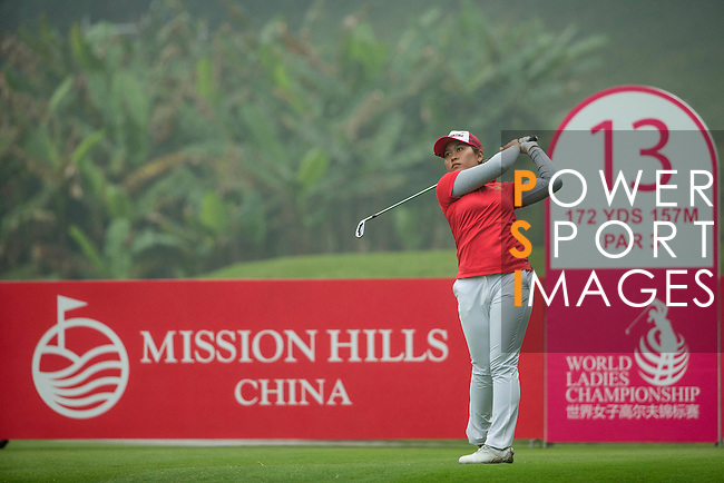Saraporn Chamchoi of Thailand tees off at the 13th hole during Round 4 of the World Ladies Championship 2016 on 13 March 2016 at Mission Hills Olazabal Golf Course in Dongguan, China. Photo by Victor Fraile / Power Sport Images