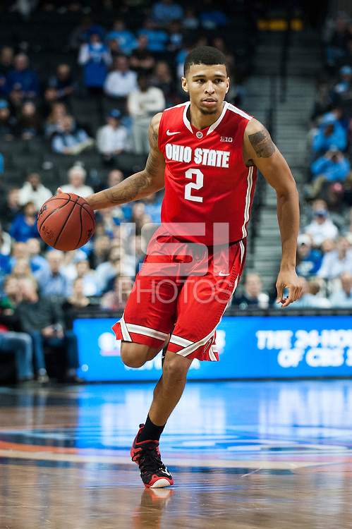 BROOKLYN, NY - Saturday December 19, 2015: Marc Loving (#2) of Ohio State  and his Buckeyes take on the Kentucky Wildcats as the two teams square off in the CBS Classic at Barclays Center in Brooklyn, NY.