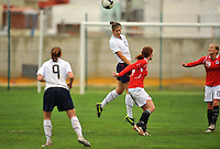 Yael Averbuch wins a header over a Norwegian player. The USA defeated Norway 2-1 at Olhao Stadium on February 26, 2010 at the Algarve Cup.