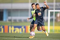 7th October 2020; Granja Comary, Teresopolis, Rio de Janeiro, Brazil; Qatar 2022 qualifiers; Everton and Renan Lodi of Brazil during training session
