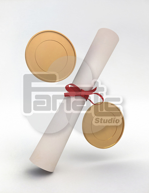 Illustrative image of coins and diploma representing education cost over white background