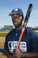 February 10 2008: Chris Smith participates in a MLB pre draft workout for high school players at the Urban Youth Academy in Compton,CA.  Photo by Larry Goren/Four Seam Images