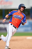 Las Calaveras de West Michigan Gage Workman (27) running the bases during a game against the Fort Wayne TinCaps on August 22, 2021 at LMCU Ballpark in Comstock Park, Michigan.  (Mike Janes/Four Seam Images)