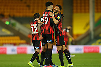 17th April 2021; Carrow Road, Norwich, Norfolk, England, English Football League Championship Football, Norwich versus Bournemouth; Lloyd Kelly of Bournemouth celebrates his goal with Philip Billing for 1-3 in the 76th minute
