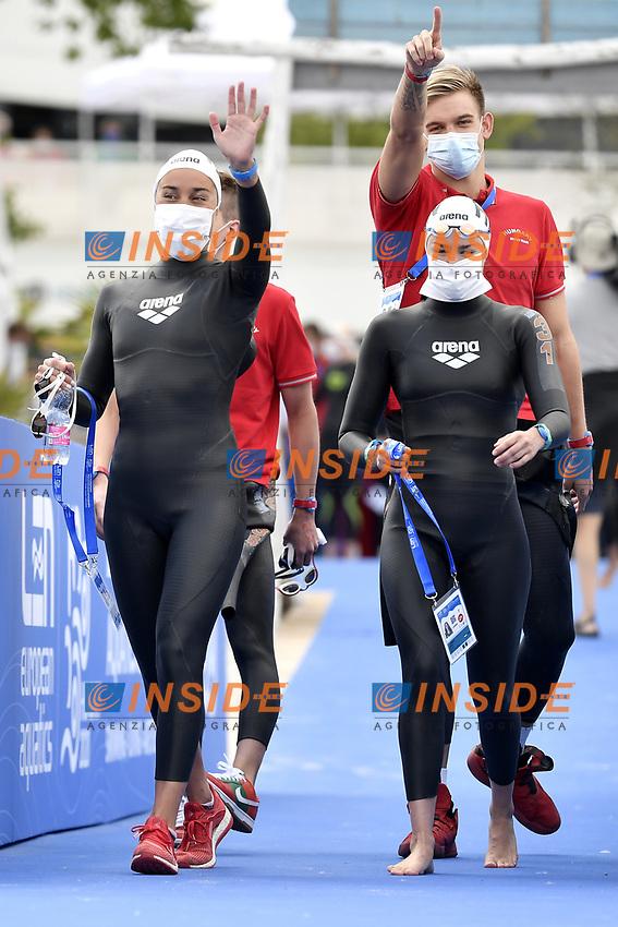 HUNGARY HUN <br /> ROHACS Reka, OLASZ Anna, BETLEHEM David, RASOVSZKY Kristof <br /> Team Event 5 km<br /> Open Water<br /> Budapest  - Hungary  15/5/2021<br /> Lupa Lake<br /> XXXV LEN European Aquatic Championships<br /> Photo Andrea Staccioli / Deepbluemedia / Insidefoto