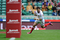 Julien Candelon of France scores a try during the iRB Marriott London Sevens at Twickenham on Saturday 11th May 2013 (Photo by Rob Munro)