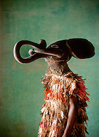 A performer at a traditional dance to animal spirits, at the Fons Palace in Bafut, Cameroon