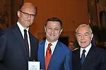 PAOLO ZEGNA, ANTONELLO PIROSO E GIANNI LETTA<br /> PREMIO GUIDO CARLI - TERZA  EDIZIONE<br /> PALAZZO DI MONTECITORIO - SALA DELLA LUPA<br /> CON RICEVIMENTO  HOTEL MAJESTIC   ROMA 2012