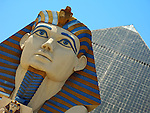 Sphinx and pyramid of the Luxor Hotel and Casino is Las Vegas, Nevada.