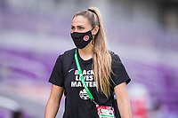 ORLANDO, FL - FEBRUARY 24: Shelina Zadorsky #4 of the CANWNT walks into the stadium before a game between Brazil and Canada at Exploria Stadium on February 24, 2021 in Orlando, Florida.